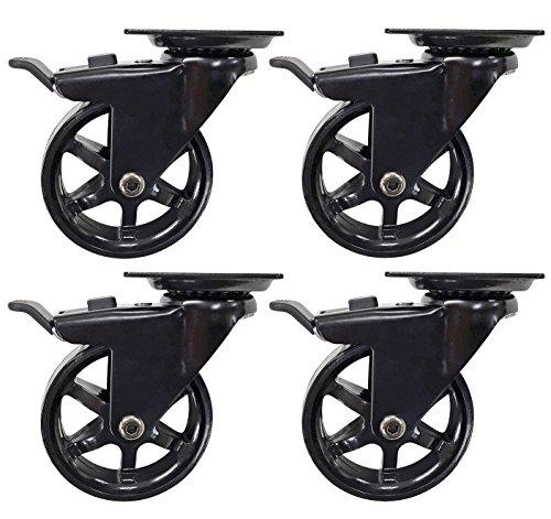 Headbourne 8276E Designer Casters 3 inch Polyurethane Black Mag Designer Caster, 4 Pack