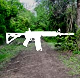 White 6in AR-15 Assault Rifle Vinyl Transfer Sticker Decal for Car/Truck/Window/Laptop (6in x 2in, White)