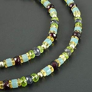 Edelsteinkette, Peridot, Granat, Citrin, Aquamarin, Kyanit, 925er Silber