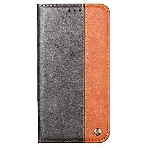 Ailisi Funda para iPhone 5/5S/SE, Premium Bicolor Carcasa Billetera de Cuero PU Piel Flip Wallet Case Cover, Simple Magnético Cartera Casual de Moda Funda Movil con 1 Ranura de Tarjeta -Negro+Marrón