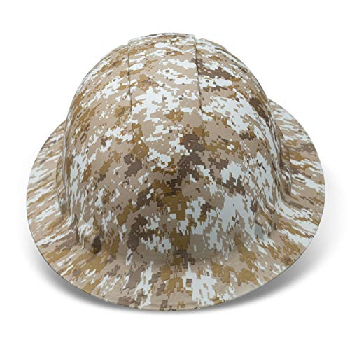Full Brim Hard Hat Construction OSHA Hardhats, Men Women Safety Helmet, 6 Point, Custom Camouflage Design, by Acerpal, Desert Storm Camo