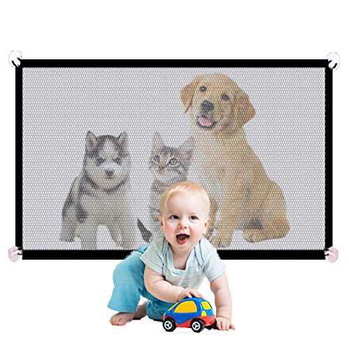 """Magic Pet Gate for Dogs, Portable Mesh Dog Gate,Gates for Kids or Pets, Mesh Baby Gate, Pet Gate for Small Dogs, Safety Fence Dog Gates for Doorways, Baby Gates for Doorways Stairs(L-43.3""""X28.3"""")"""