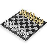 Lixada Juego de Ajedrez de Madera Plegable 3 en 1 Tablero de Ajedrez de Madera Juego de Damas Juego de Backgammon Juego de Ajedrez (Oro, 250*250 cm)