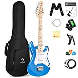 Vangoa Kids Electric Guitar, 30 Inch Electric Guitar Starter Kit for Kids Beginners with Digital Tuner, Capo, Strap, Strings, Cable, Picks, Wrenches - Blue