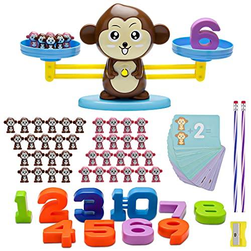 Sirecal AFFE Balance Mathe Waage Spielzeug Lernen Montessori Lernspielzeug Balance Zählen und Rechnen Cartoon Zählkarte für Kinder Jungs Mädchen ab 3 4 5 6