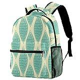 Mochila abstracta dibujada a mano verde husillo mochila escolar viaje casual mochila para mujeres adolescentes niñas niños