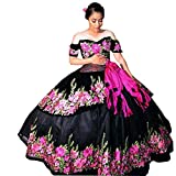 LOVELIULIU66 Flowers Embrodiery Charro Quinceanera Dresses Prom Gowns for Sweet 16 Girls Ball Gowns Black 4