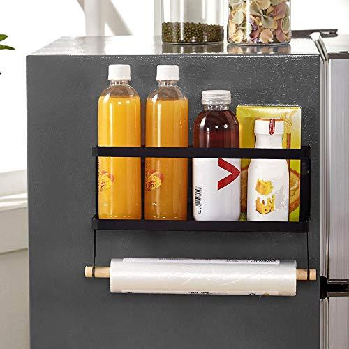 OIZEN Kühlschrank Regal Hängeregal für Kühlschrank Magnet/Montage Gewürzregal mit Ablage Küchenregal Küchen Organizer Aufbewahrung, Schwarz