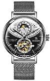 B BINGER Men's Day Moon Mechanical Wrist Watch with Stainless Steel Mesh B