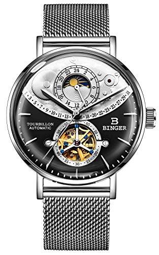 B BINGER Skelett Uhr Herren Automatik Mechanische Selbstwind mit Mesh Stahlband (Schwarz)