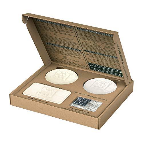 N.A.E. Feststücke-Box, 100% plastikfrei und zertifizierte Naturkosmetik: reparierendes festes Shampoo 85g & erfrischende feste Duschpflege 100g & sanfte feste Gesichtsreinigung 78g & Seifensäckchen