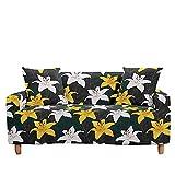 Surwin Funda Elástica para Sofá de 1/2/3/4 Plazas, 3D Planta Impresión Universal Cubierta de Sofá Cubre Sofá Antideslizante Lavable Sofa Couch Cover Protector (Lirio,4 plazas - 235-300cm)