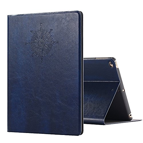Miniko iPad Air Luxury Retro Ancient Vintage Old Book Style Case, (TM) iPad Air Case Fashion Vintage Premium PU Leather Cover W/Magnet Design Flip Case with Auto Sleep/Wake up Dark Blue
