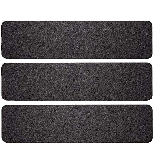 3 Pack Large 6 Inch x 24 Inch Black High Traction Adhesive Non Slip Stair Treads. Pre-Cut Safety Tape/Tread Prevents Slips and Falls
