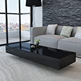 Rectangular Coffee Table, High Gloss Cocktail Table Accent Sofa Side Table for Home Bedroom Living Room Office Black 45.3' x 21.7' x 12.2'