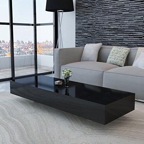 Vislone Rectangular Mesa de Centro Salón Mesa de Café Mesa Auxiliar de Fibra de Vidrio Negro Brillante 115x55x31cm