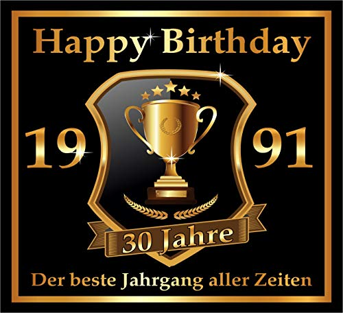 RAHMENLOS 3 St. Aufkleber zum 30. Geburtstag: 1991 der Beste Jahrgang Aller Zeiten - Selbstklebendes Flaschen-Etikett. Original Design