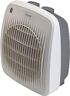 Bimar Calefactor Electrico Baño HF190, Calentador de Ventilador Eléctrico de 2000W de Bajo Consumo con Termostato Ajustable y 2 Potencias de Calentamiento, Cuerpo de Plástico con Asa Integrada