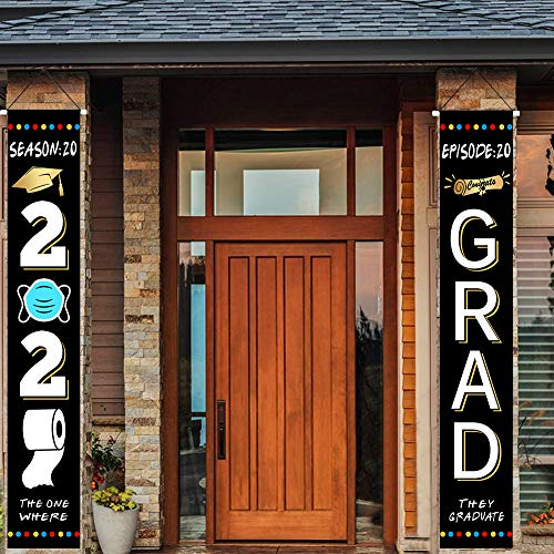 Tretree 2020 Graduation Banners The One Where They were Quarantined Class of 2020 & Congrats Grad Hanging Flags Porch Sign Graduation Party Decorations Outdoor Décor