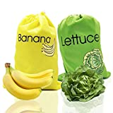 DE Reusable Produce Bags ,Includes Banana Bag and Lettuce Bag,Keep it Longer Up To 2 Weeks Stop Food Waste