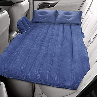 FBSPORT Car Travel Inflatable Mattress Portable Travel Camping Mattress Sleep Bed for Road Trips Universal SUV Blow Up Mattress with Two Air Pillows (Blue.)