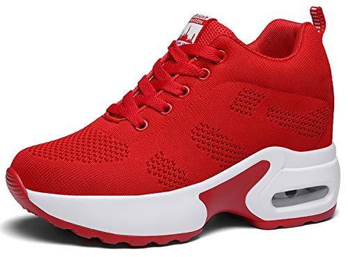 AONEGOLD Sneakers Mit Keilabsatz Damen Wedges Sportschuhe Turnschuhe Bequeme Atmungsaktiv Mesh Sport Laufschuhe Freizeitschuhe (Rot,38 EU)