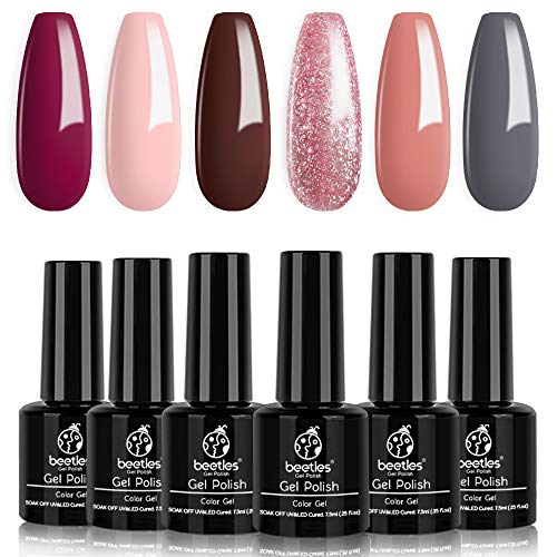 Beetles Gel Nail Polish Set, Rustic Reception Collection Pink Glitter Coral Gray Brown Gel Nail Lacquer Kit Bridal Nail Art Manicure Gift Kit, 7.3ml Each Bottle