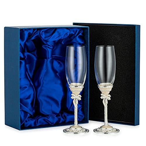 Sziqiqi Bicchieri Champagne Smalto per Matrimonio, Coppa da Champagne, Flute Sposi Set di 2 Flute da Champagne per Fidanzamento, Addio al Nubilato, Ricevimento di Nozze, Anniversario, Compleanno