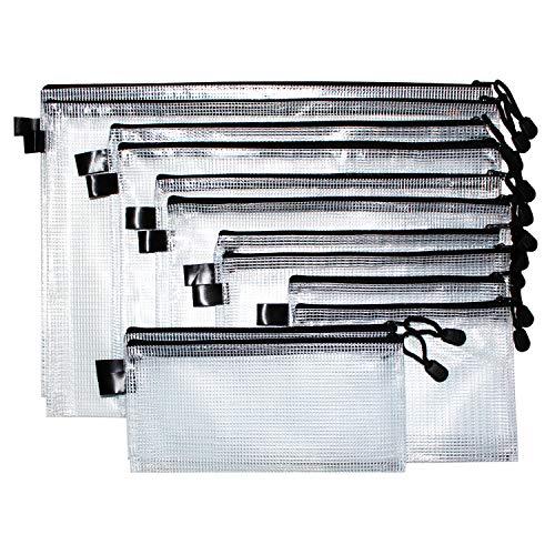 Dokumententasche (12 Stück) - Reißverschlussbeutel mit Trageband, Reißverschluss in verschiedenen Größen - Mehrzweck Beutel für Kosmetik, Reisezubehör, Ladekabel, Büro, Schule