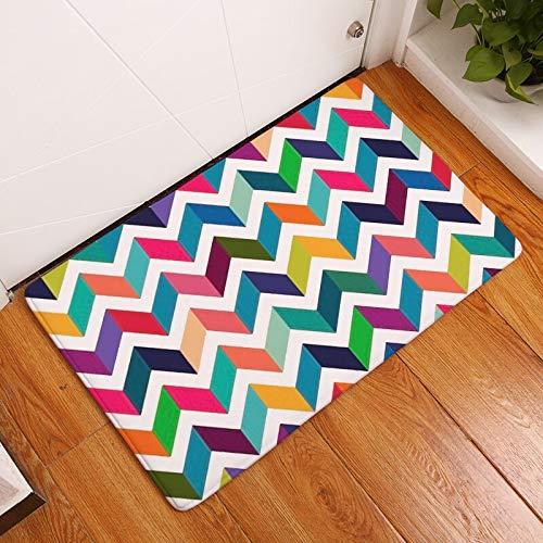 OPLJ Alfombra de Puerta de Entrada de impresión geométrica Antideslizante Alfombra de Cocina de baño patrón de Rayas Alfombra de Dormitorio decoración del hogar A10 50x80cm