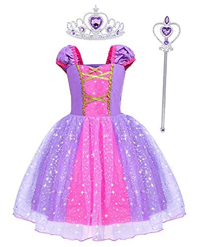 Hamanasu Bébé Fille Raiponce Robe Princesse Costume Déguisement Anniversaire Fête Halloween Noël Partie Carnaval Cosplay avec Accessoires(violet01,5-6Ans/120)