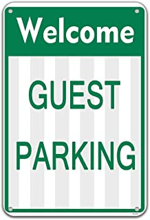Metal Durable Parking Sign Welcome Guest Parking Only Signs Outdoors Wall Decor 8x12 Inches Metal Tin Yard Industrial Warning Signs Weatherproof Resistant Long Lasting