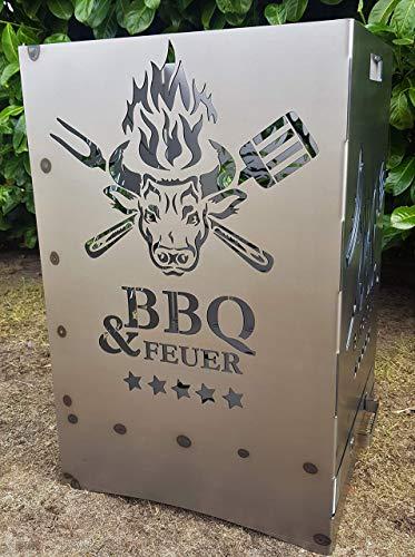 """Feuerkorb Feuerstelle Grill Maße 40x40x60 cm Motiv\"""" BBQ Steckhouse Grillhouse\"""" inkl. Ascheschublade und Zwischenboden sehr stabil GARTENDEKO FOCKBEK"""