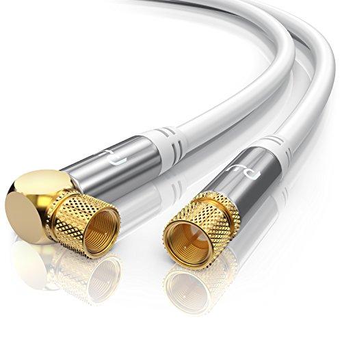 CSL - 7,5m SAT Kabel HDTV 90 Grad gewinkelt - Premium SAT Koaxialkabel Satellitenkabel F Stecker - TV HDTV Radio DVB-T DVB-C DVB-S DVB-S2 - Abschirmmaß 135db 75Ohm - 4 Fach Schirmung - weiß