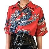 Mcaishen Camisas De Verano para Mujer, Harajuku para Mujer, Camisa con Estampado De Dragón, Camisa De Manga Corta, Camisa Holgada De Calle, Ropa De Moda para Mujer.(Red)