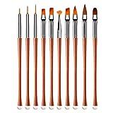 FRCOLOR 10Pcs Pincel de Pintura de Uñas Set Acrílico Nail Art Builder Pinceles Bolígrafos Profesionales Accesorios de Manicura para Mujeres Artesanías Herramienta de Salón (Oro Rosa)