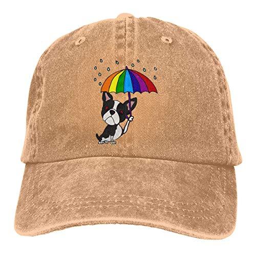 XCNGG Niedlicher Boston Terrier für Herren und Damen mit Regenschirm Denim Jeanet Baseball Cap Verstellbarer Street Rapper Hut