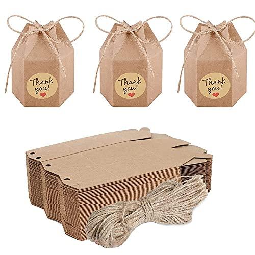 50 Piezas Cajas Kraft Marrón de La Regalos, Caja de Papel de...