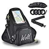WOLT Powerful Motorcycle Tank Bag With waterproof rain cover Strong Magnetic Motorbike Bag, Transparent Pocket For Cell Phone Navigation
