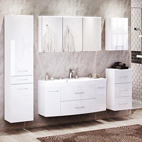 Lomado Badezimmermöbel Komplettset in Hochglanz weiß ● 120cm Waschtisch mit Gussbecken, LED-Spiegelschrank mit durchsichtigem Acryldeckel ● Made in Germany