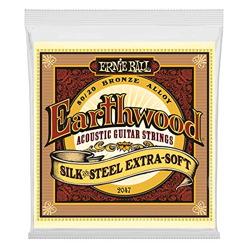 Ernie Ball Earthwood Silk & Steel Cuerdas extra suaves de guitarra acústica de bronce 80/20 - Calibre 10-50