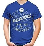 Mein Leben Magdeburg Männer und Herren T-Shirt | Fussball Ultras Geschenk | M1 Front (S, Blau)