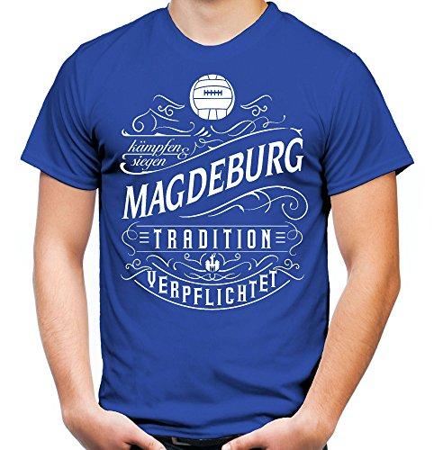 Mein Leben Magdeburg Männer und Herren T-Shirt   Fussball Ultras Geschenk   M1 Front (M, Blau)
