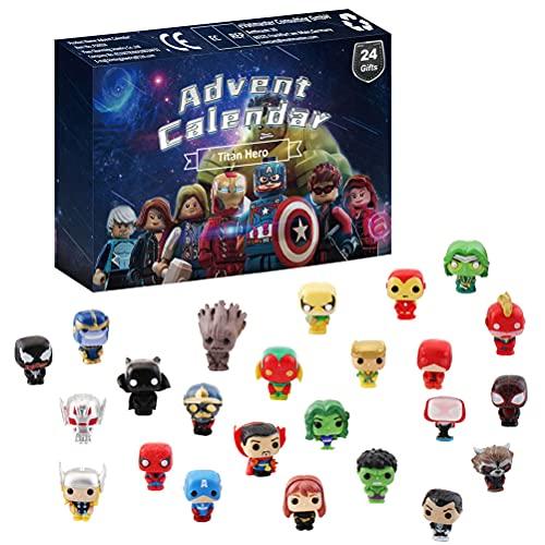 BSTCAR Calendrier de l'Avent 2021 - Jouets de Noël avec boue, jouets Mollusk Avengers - Figurines de dinosaure et d'animaux de l'océan - Compte à rebours de 24 jours - Cadeaux pour enfants