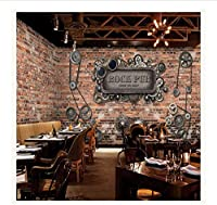 Djskhf カスタム3D壁画3Dレンガ壁時計金属レジャーバーカフェソファテレビ背景壁寝室リビングルームバスルーム壁紙壁画 100X50Cm