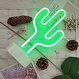 GUOCHENG Señal de neón LED de cactus verde con luz nocturna de neón para decoración de interiores, lámparas de mesa de noche, luces de neón para decoración de boda
