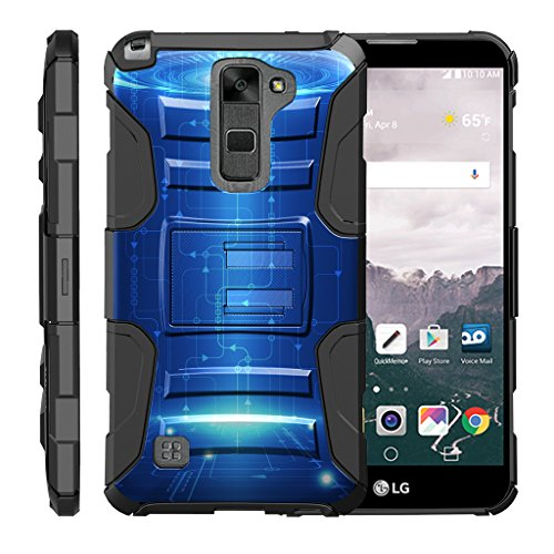 TurtleArmor | Compatible with LG Stylus 2 Case | LG G Stylo 2 Case [Hyper Shock] High Duty Proof Belt Clip Holster Kickstand Silicone Hard Combo Camo Unique - Blue Technology