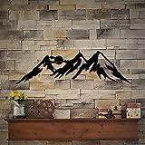 Ced454sy - Mural de pared de metal de montaña, paisaje de montaña, para guardería, cabina, lago, montaña, sala de estar o dormitorio principal