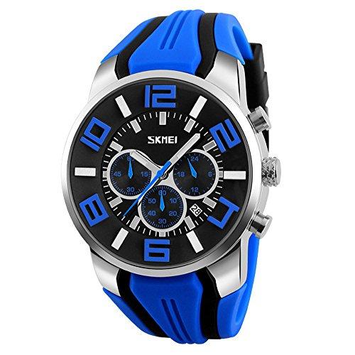 Herrenuhren Chronograph Sportuhr Silikon Kalender Armbanduhren für Herren, Blau