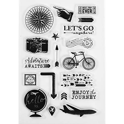 MaGuo Journey Clear Stamps Cameras, Road Signs Bicycles, Airplanes Travel Diary Decoration